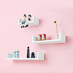 DecorNation 3 Piece U Shape MDF Wall Shelf, White