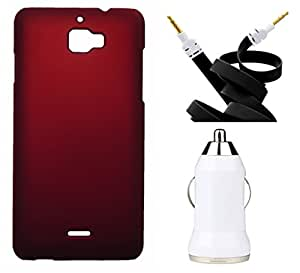 Toppings Hard Case Cover With Aux Cable & Car Charger For CoolpadDazen - Red