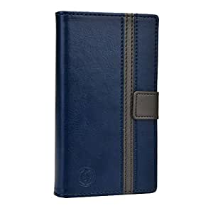 Jo Jo Cover Pluto Series Leather Pouch Flip Case For Videocon A48 Dark Blue Grey