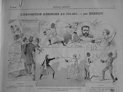 1886 - JA3 EXPOSITION ESCRIME FIGARO AQUARELLE REGAMEY FLEURET FEMME HENRIOT par Actualités générales