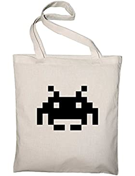 Space Invaders Logo Retro 80er Geek Jutebeutel, Beutel, Stoffbeutel, Baumwolltasche