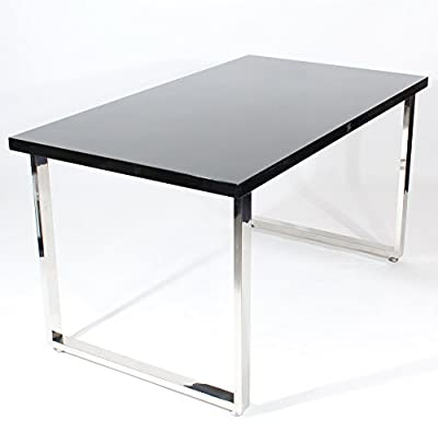 Charles Jacobs 1.4m Large Dining Table with Chrome Legs and Black High Gloss MDF Top - Premium Quality
