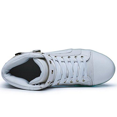 Acmebon Scarpe LED Caviglia Alta 7 Colori Intermittenti Ricaricabili Scarpe da Ginnastica Luminose per Uomini e Donne Bianco