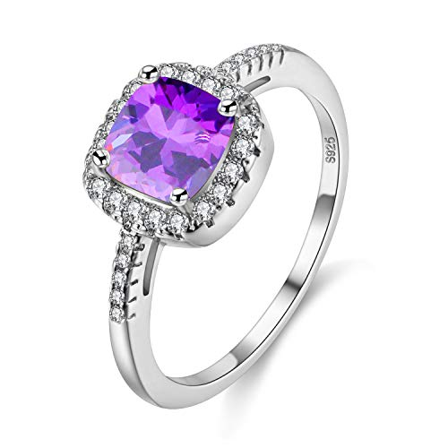 Uloveido Erstellt Mystic Amethyst Solitaire Ehering für Frauen, Square Cushion Cut Regenbogen Crystal Bridal Fingerring (Lila, Größe 52) Y3100