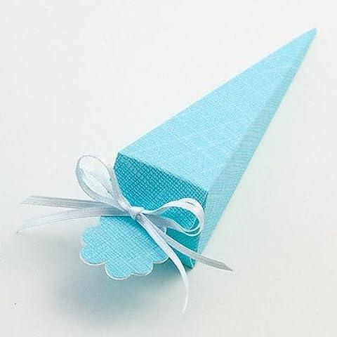 Cono de boda o bautizo para regalos - Celeste seda azul (PK 10 se envía desmontado, sin decoración)