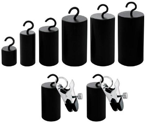 Nippelklemmen Gewichte Set - 50 100 200 300 400 und 500 Gramm im Set mit 2 Nippelklammern Brustklammern Brustklemmen Brust Nippel Klammer Klammern Klemmen + Gewichte