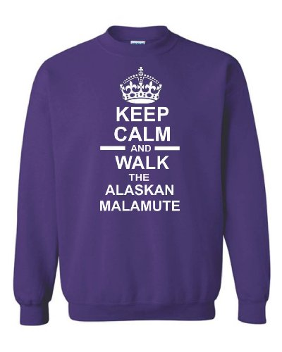 Keep Calm & Walk The Alaskan Malamute Unisex Felpa Purple