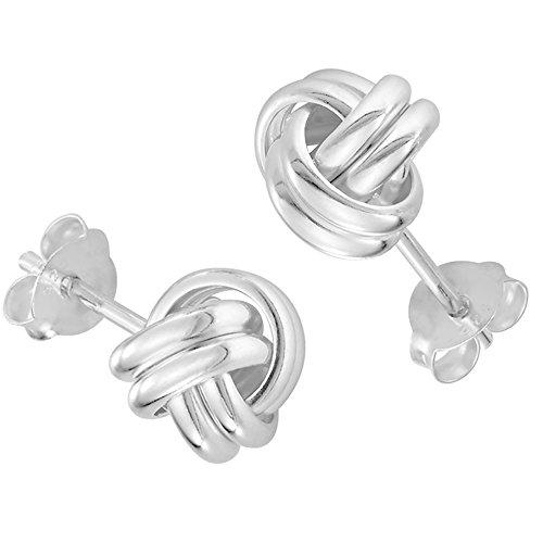 Vinani Ohrstecker Knoten klein glänzend Sterling Silber 925 Symbol Buddhismus Sterling Silber 925 Ohrringe 2OKS