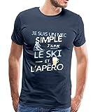 J'aime Le Ski Et L'Apéro T-Shirt Premium Homme, XL, Bleu Marine