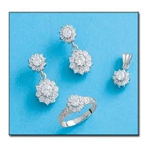 Boucles d'oreilles - Or blanc 750/1000 avec zircon - Tiges poussettes - Taille: 10x22mm