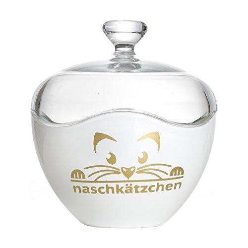 Ritzenhoff & Breker Flirt Bonboniere, Dose, Bonbondose, Keksdose, Motiv: Naschkätzchen, Weiß / Gold, 686647