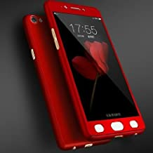 FUSON Full Body Front and Back 360 Degree Protective Case for Oppo A57(Red)