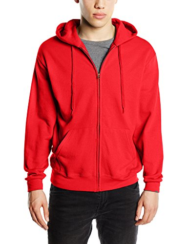Fruit of the Loom Zip Hooded Sweatshirt-cappuccio Uomo    Red X-Large