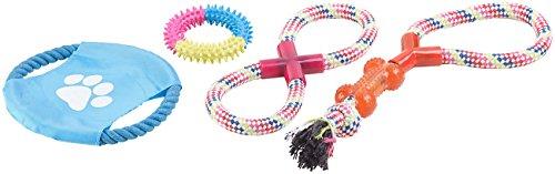 Sweetypet Wurfspiel für den Hund: 10er-Set Bunte Hundespielzeuge aus Baumwolle zum Kauen und Toben (Hunde-Spielzeugset) - 3