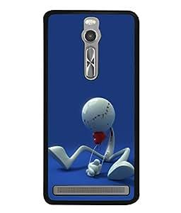 PrintVisa Designer Back Case Cover for Asus Zenfone 2 ZE551ML (Vodafone Cartoon Haert Pose Action Sitting Ball )