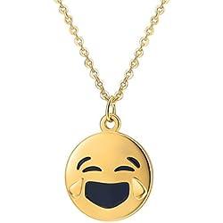 PROSTEEL Collar con Colgante de Emoji Reir Llorando con Cadena Rolo 46+5cm Ajustable