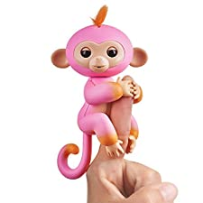 Wow Wee Fingerlings zweifarbiges Äffchen pink mit orange, Candi 3725 interaktives Spielzeug, reagiert auf Geräusche, Bewegungen und Berührungen