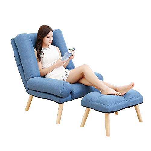 Sofa Stuhl Klappsessel 5 Ebenen Verstellbarer Lounge-Sessel mit Fußstütze Freizeit-Balkonstuhl (Farbe : Dunkelblau) | Garten > Balkon > Balkonstühle | Sofa Stuhl