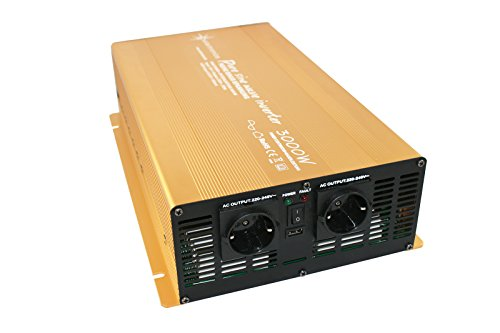 Spannungswandler 12V 3000 6000 Watt reiner SINUS Power USB 2.1A Gold Edition