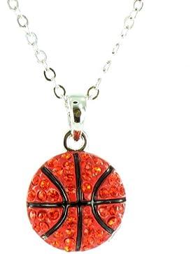 Halskette versilbert mit strassbesetztem orange-schwarzen Basketball-Anhänger