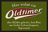 RAHMENLOS Das Geschenk zum 60. Geburtstag: Oldtimer 60 Jahre - Fußmatte Türmatte Schmutzfangmatte