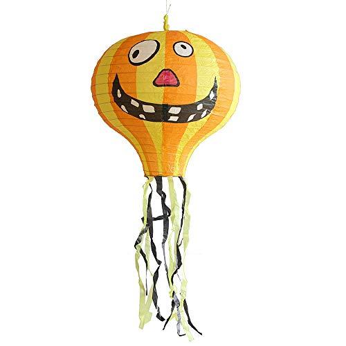 Sccarlettly Halloween Laternen Dekoration Faltbare Papier Heißluftballon Laternen Ghoul Ghost Scary Sensenmann Schädel Gemustert Spukhaus Hof Themenbar Spooky Devil Ornament (Spooky Ghost Kostüm)