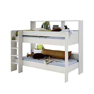 EMILI White Loft Mid Sleeper Cabin Bed with Hideaway Computer Desk and Storage Cupboard for Kids Rooms - low-cost UK Bunkbed store.