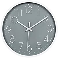 """Topkey Wall Clock 12"""" Silent Non Ticking Arabic Numeral Clock Round Decorative Wall Clock for Living Room, Bedroom, Kitchen (Battery Not Included) Grey"""
