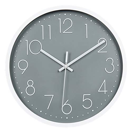 """Topkey 12"""" Moderne Horloge Murale Mute Silencieuse Pendule Murale pour La Chambre Cuisine Salon - Gris"""