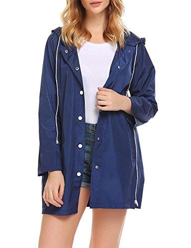 Lomon Femme Vestes Coupe-Pluie Manteaux Imperméables à Capuche Pliable Blouson avec Capuche