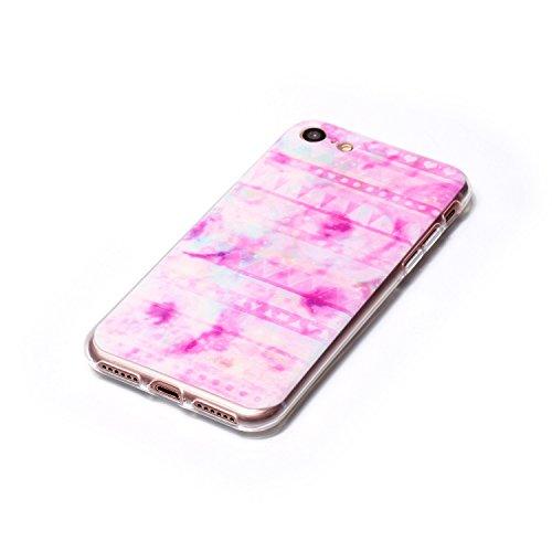 Qiaogle Téléphone Coque - Soft TPU Silicone Housse Coque Etui Case Cover pour Apple iPhone 7 (4.7 Pouce) - LF09 / Smile LF01 / Pink Halo
