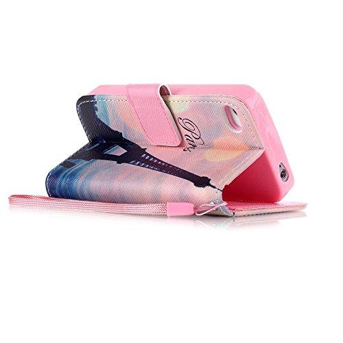 KATUMO® Handyhülle für iPhone 4, [Flip Book Case] PU Leder Wallet Case Handytasche Schutzhülle für Apple iPhone 4/4S Lederhülle Etui Schale mit Standfunktion Function,Fantasie Campanula Schiefer Turm
