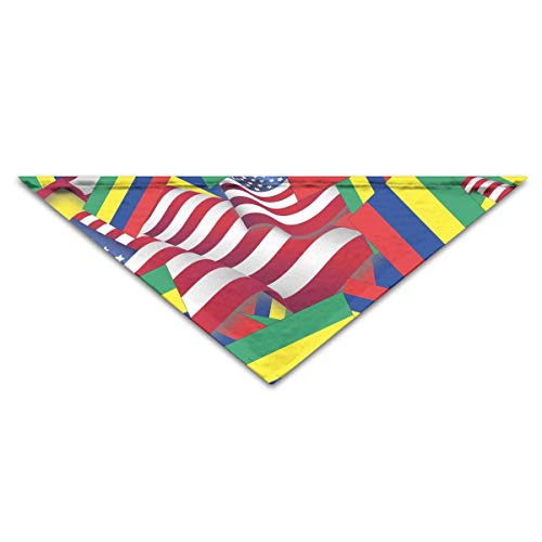 FGJGHKGH Hundehalstuch, Mauritiusflagge mit Amerika-Flagge, Dreieck, für Hunde und Katzen (Outfits Tag Amerika)