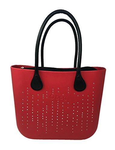 O bag con cristallini a cascata rossa + sacca interna nera + manici lunghi ecopelle martellati neri
