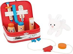 Small Foot 10864 - Estuche médico Accesorios de Madera y un Conejo de Peluche, promueve el Juego Creativo, Apto para niños a Partir de 3 años