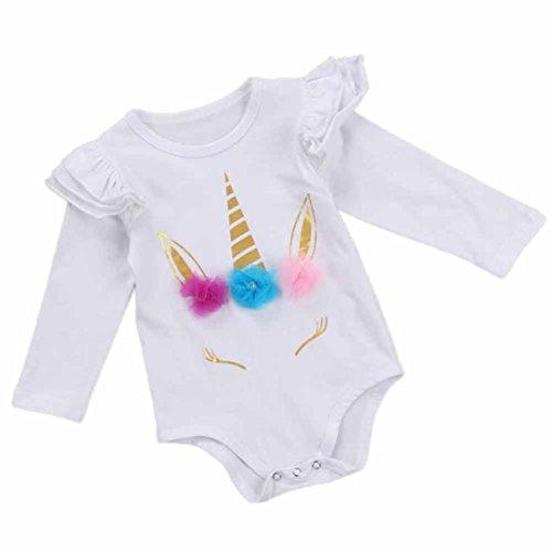 Babykleidung Kleinkind Strampler Kinder Baby Lange Hülsen Spielanzug Kleidung Mädchen Strampler Tops Kleidung Shirt Mädchen Jungen Kinderbekleidung Blumen T-shirt (0M-24M) LMMVP (Weiß, 90 (12-18M)) (Pant Dot Velour)