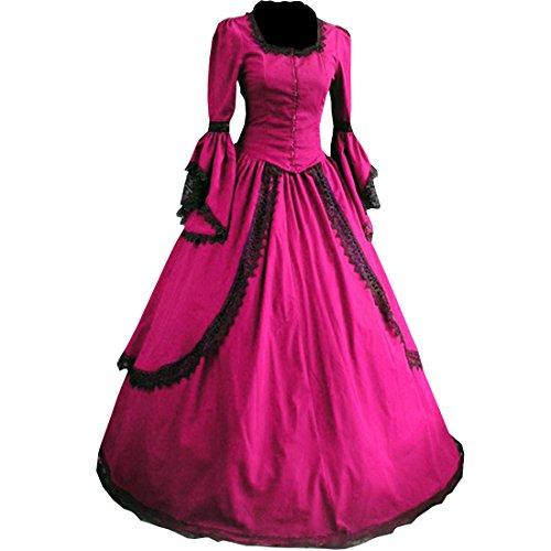 Partiss Damen Langarm Lace Maxi Victorian gotische Lolita Cosplay Abendkleid (Kleid Lace Victorian)