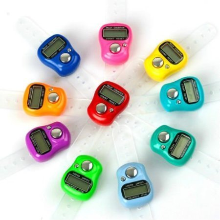 Alfa Mart Digital Electronic Hand Finger Tally Counters Multicolor (10Pcs)