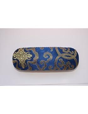 Blu scuro (blu reale) con oro seta ricamo decorazioni, decorativo custodia per occhiali. Modelli possono variare.