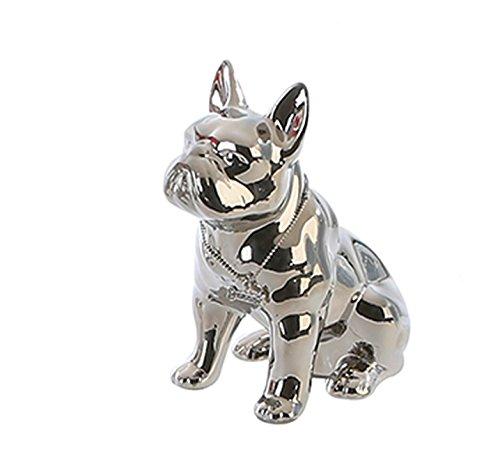 Spardose Bulli Bulldoge silber sitzend Hund Figur Sparschwein