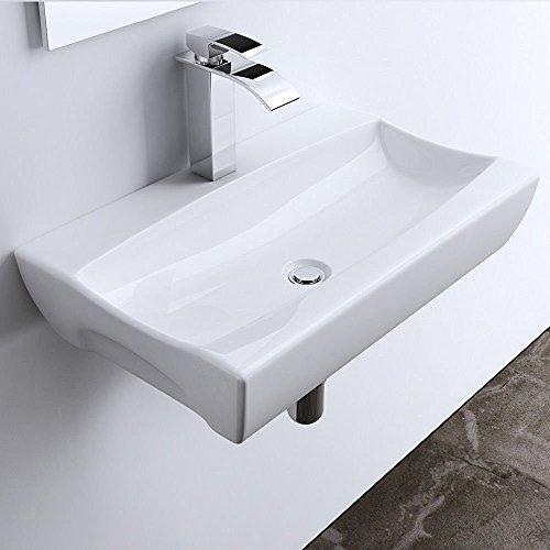 Aufsatz-/Hängewaschbecken Brüssel890 BTH: 63x39,5x11,5 cm, weiß Keramik, eckig, inkl. Nano-Beschichtung/Lotus-Effekt