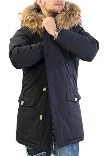 Giubotto parka uomo invernale con pelliccia vera volpe removibile antony morale 2 colori disponibili (xl 52, blu scuro)