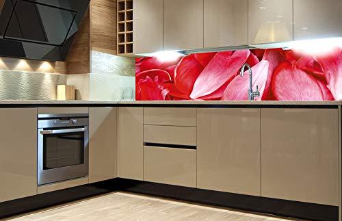 DIMEX LINE Küchenrückwand Folie selbstklebend ROTE BLÜTENBLÄTTER 180 x 60 cm   Klebefolie - Dekofolie - Spritzschutz für Küche   Premium QUALITÄT