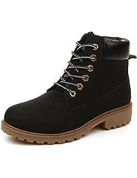 f09e73b2da64 AILU Winterschuhe Damen Gfüttert Work Boots Wärme Stiefeletten Lace Up Damen  Flach Schnür
