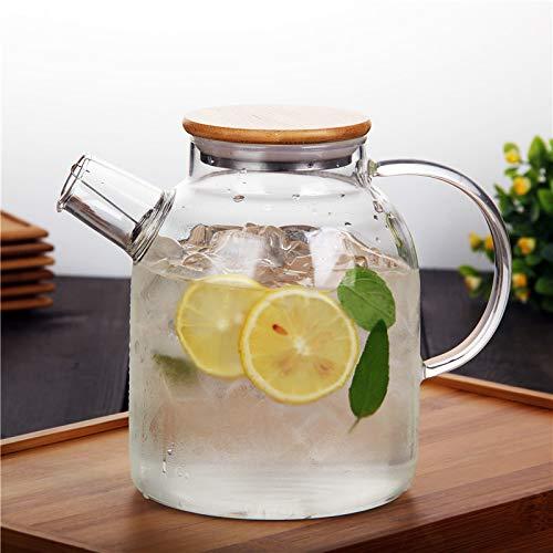 SGXDM Glas-Kaltwasserflasche große Kapazität Glas-Kaltwasserflaschen-Set explosionssicher kaltes Wasser hitzebeständige Hochtemperatur-Wassertasse, 1500ml (Tee-wasserkocher Mit Infusers)