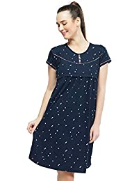 ZEYO Women's Cotton Maternity Dress | Heart Print Feeding Night Dress