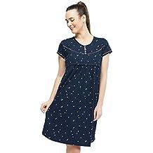 ZEYO Women's Cotton Navy Blue & Pink Maternity Night Dress Heart Print Feeding Short Nighty