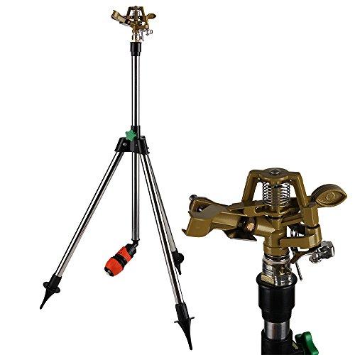 Deuba Sprinkler Rasensprenger Kreisregner | Teleskopstativ | Höhe bis 88cm | Bewässerungsweite bis zu 24m | 360° Sprühaufsatz