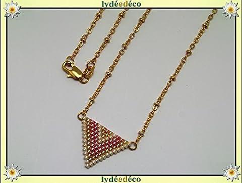 Collier plaqué or perles japonaises orange rose pastel beige tissage