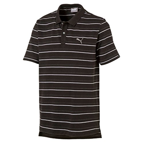 Puma Herren Sports Stripe Pique Polo Cotton Black